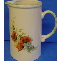 KERNEWEK POTTERY POPPY DESIGN 2 PINT JUG
