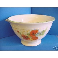 KERNEWEK POTTERY POPPY DESIGN MIXING BOWL