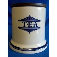 1869 VICTORIAN POTTERY BLUE & CREAM TEA CADDY