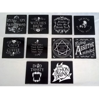ALCHEMY GOTHIC DESIGNS CERAMIC COASTERS – TEN PIECE SET