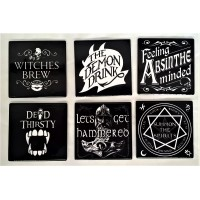 ALCHEMY GOTHIC DESIGNS CERAMIC COASTERS – SIX PIECE ALCOHOLIC DRINKS SET