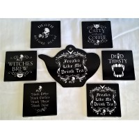 ALCHEMY GOTHIC DESIGNS CERAMIC TEAPOT STAND & COASTERS SET – FREAKS LIKE ME DRINK TEA