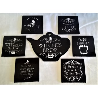 ALCHEMY GOTHIC DESIGNS CERAMIC TEAPOT STAND & COASTERS SET – WITCHES BREW