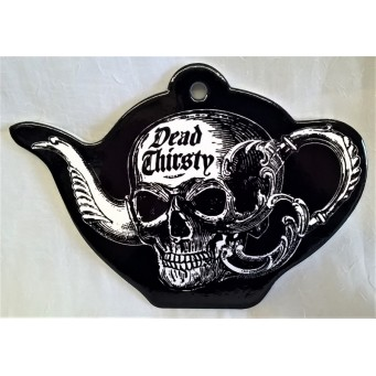 ALCHEMY GOTHIC DESIGNS CERAMIC TEAPOT STAND – DEAD THIRSTY SKULL TEAPOT