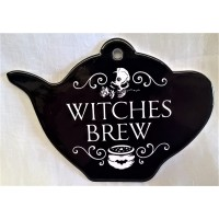 ALCHEMY GOTHIC DESIGNS CERAMIC TEAPOT STAND – WITCHES BREW