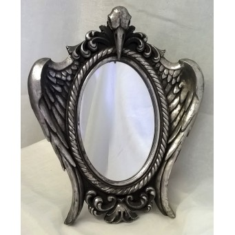 ALCHEMY GOTHIC DESIGNS MIRROR – MY SOUL FROM THE SHADOW - RABESCHADEL RAVEN SKULL DESIGN