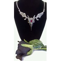 ALCHEMY GOTHIC DESIGNS NECKLACE – MASQUE OF THE BLACK ROSE - HORNED RAVEN'S SKULL or RABESCHADEL
