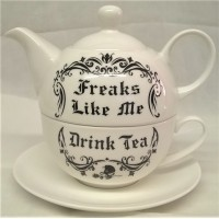 ALCHEMY GOTHIC DESIGNS BONE CHINA TEA FOR ONE SET – FREAKS LIKE ME DRINK TEA