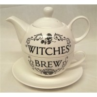 ALCHEMY GOTHIC DESIGNS BONE CHINA TEA FOR ONE SET – WITCHES BREW