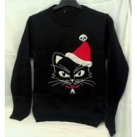"ALCHEMY GOTHIC DESIGNS CHRISTMAS JUMPER – BLACK CAT – 42"" CHEST (Large)"