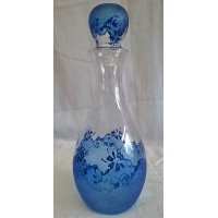 HANDPAINTED ART GLASS DECANTER OR WINE CARAFE