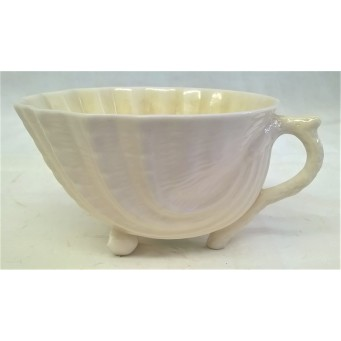 BELLEEK PORCELAIN NEPTUNE DESIGN TEACUP (YELLOW LUSTRE VERSION)