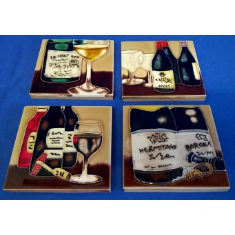 BENAYA PORCELAIN DISPLAY TILE PLAQUES OR COASTERS SET - A GOOD YEAR