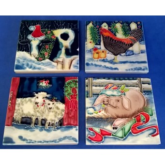 BENAYA PORCELAIN DISPLAY TILE PLAQUES OR COASTERS SET - CHRISTMAS ON THE FARM