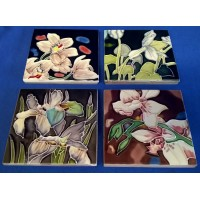 BENAYA PORCELAIN DISPLAY TILE PLAQUES OR COASTERS SET - GARDEN BOUQUET