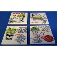 BENAYA PORCELAIN DISPLAY TILE PLAQUES OR COASTERS SET - HERBS