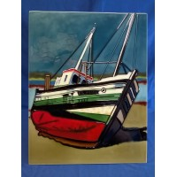 BENAYA TUBELINED PORCELAIN TILE PLAQUE – FISHING BOAT AT LE CRETOY