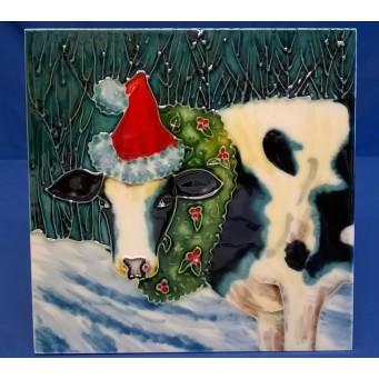 BENAYA PORCELAIN DISPLAY TILE, TRIVET OR TEAPOT STAND - CHRISTMAS COW
