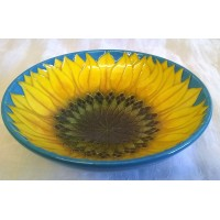 DENNIS CHINAWORKS TURQUOISE SUNFLOWER FOOTED BOWL