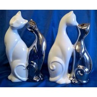 GILDE CERAMIC PLATINUM & WHITE CATS