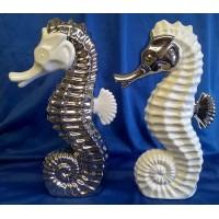 GILDE CERAMIC PLATINUM & WHITE SEAHORSES