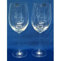 GLENEAGLES CRYSTAL – PAIR OF WEDDING DAY WINE GLASSES