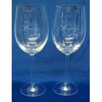GLENEAGLES CRYSTAL – PAIR OF WEDDING DAY WINE GLASSES