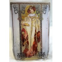 GOEBEL ALPHONSE MUCHA FOUR SEASONS SQUARE TEA LIGHT CANDLE HOLDER - 8532 AUTUMN
