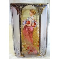 GOEBEL ALPHONSE MUCHA FOUR SEASONS SQUARE TEA LIGHT CANDLE HOLDER - 8524 SUMMER