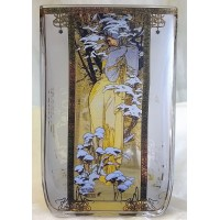GOEBEL ALPHONSE MUCHA FOUR SEASONS SQUARE TEA LIGHT CANDLE HOLDER - 8540 WINTER