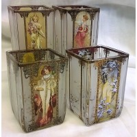 GOEBEL ALPHONSE MUCHA FOUR SEASONS – SET OF FOUR SQUARE TEA LIGHT CANDLE HOLDERS