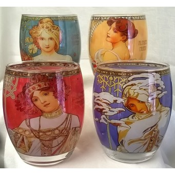 GOEBEL ALPHONSE MUCHA FOUR SEASONS – SET OF FOUR ROUND TEA LIGHT CANDLE HOLDERS