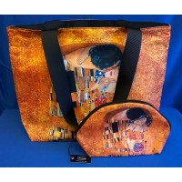 GOEBEL GUSTAV KLIMT THE KISS SHOPPER & MAKEUP BAG SET