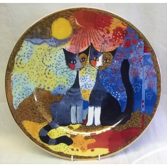 GOEBEL ROSINA WACHTMEISTER CAT DESIGN LIMITED EDITION 32cm PLATE – ROMANTICO