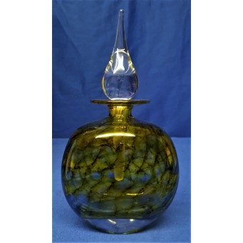 MARTIN ANDREWS ART GLASS PERFUME BOTTLE – MIDNIGHT SUN DESIGN – FLAT OVAL 150ml
