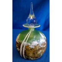 MARTIN ANDREWS ART GLASS PERFUME BOTTLE – MOSS DESIGN – FLAT OVAL 150ml