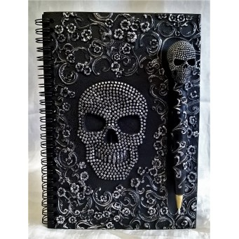 NEMESIS NOW NOTEBOOK OR JOURNAL – BAROQUE PINHEAD SKULL DESIGN