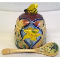 OLD TUPTON WARE ART NOUVEAU DAFFODIL HONEY JAR & SPOON SET