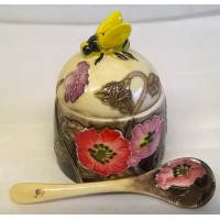 OLD TUPTON WARE POPPY FIELDS HONEY JAR & SPOON SET