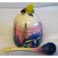 OLD TUPTON WARE IRIS HONEY JAR & SPOON SET