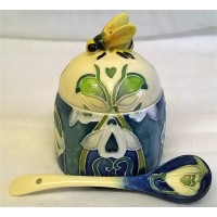 OLD TUPTON WARE ART NOUVEAU SNOWDROP HONEY JAR & SPOON SET