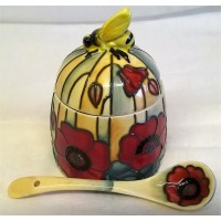 OLD TUPTON WARE YELLOW POPPY HONEY JAR & SPOON SET