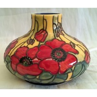OLD TUPTON WARE YELLOW POPPY 16cm DIAMETER SQUAT VASE