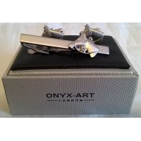 ONYX-ART CUFFLINK & TIE BAR SET – HORSE HEAD