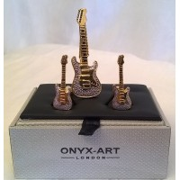 ONYX-ART CUFFLINK & TIE BAR SET – ELECTRIC GUITAR – GOLD & CHROME