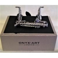 ONYX-ART CUFFLINK & TIE BAR SET – SAXOPHONE