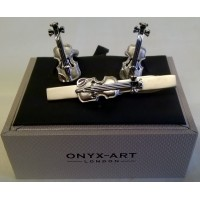 ONYX-ART CUFFLINK & TIE BAR SET – VIOLIN