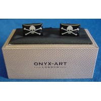 ONYX-ART CUFFLINK SET - JOLLY ROGER SKULL & CROSSBONES PIRATE FLAG