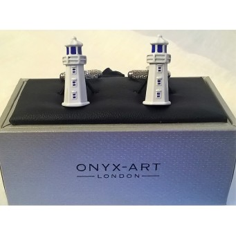 ONYX-ART CUFFLINK SET - LIGHTHOUSE