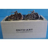 ONYX-ART CUFFLINK SET - MOTORCYCLE V TWIN CLASSIC